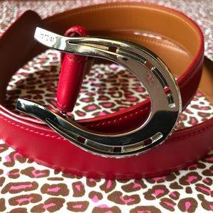 Ralph Lauren Red Leather Horse Bit Belt